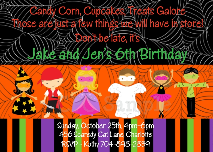 halloween birthday party invitations - printable or printed, Party invitations