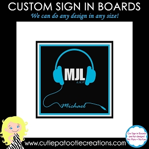Headphones Bar Mitzvah Sign in Board Personalized