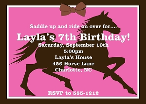 Cowgirl And Cowboy Themed Birthday Party Invitations - Horseback riding birthday invitation