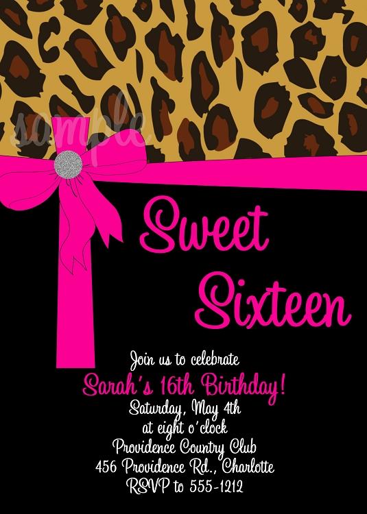 Pink Leopard Sweet 16 Sixteen Invitations Quinceanera Invitations – Cheetah Birthday Invitations