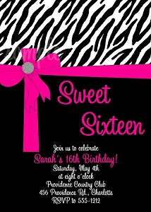 Zebra Print Sweet 16 Sixteen Birthday Invitations - Quinceanera Invitations