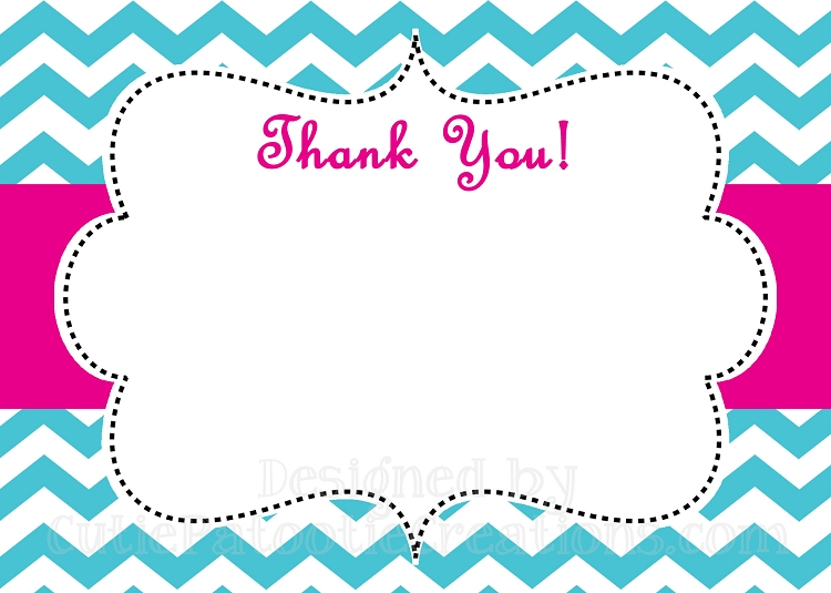 Turquoise Pink Chevron Print Thank You Card  Printable Or Printed