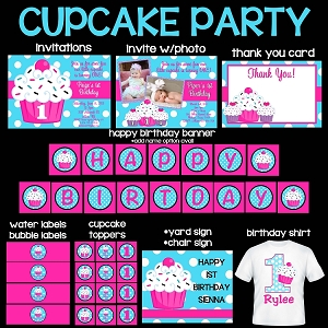 Cupcake Printable Party Package - Cupcake Birthday Invitations - Cupcake Birthday Decorations