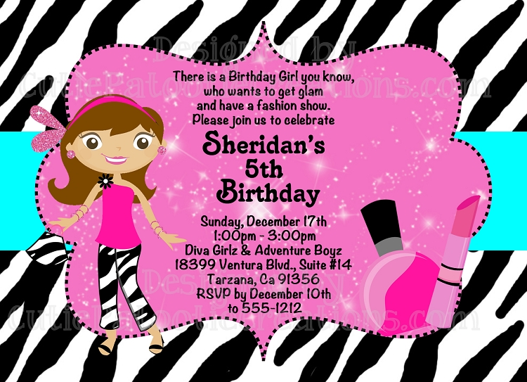 Glamour girl birthday invitation printable or printed fashion runway birthday party invitation filmwisefo