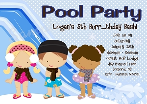 Winter Pool Party Birthday Invitation for Kids