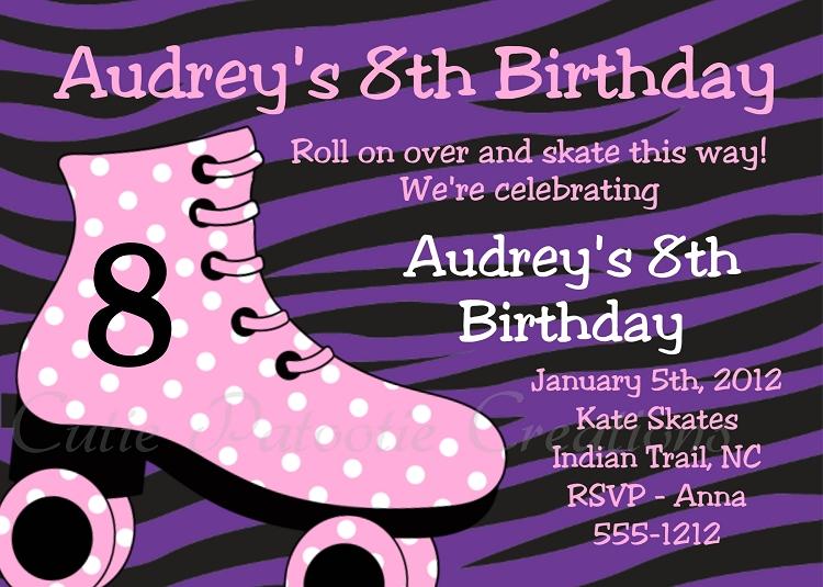 zebra print  roller skating birthday invitations  printable or, Birthday invitations