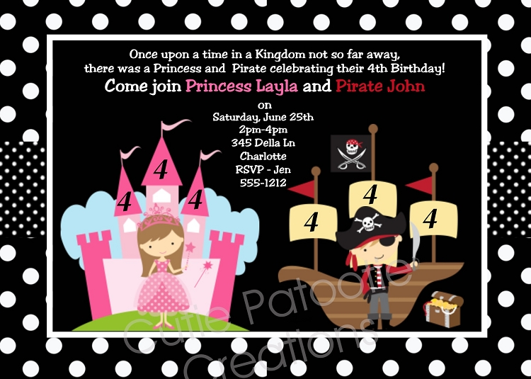 Joint birthday party invitations for boy girls twins siblings – Pirates and Princess Party Invitations