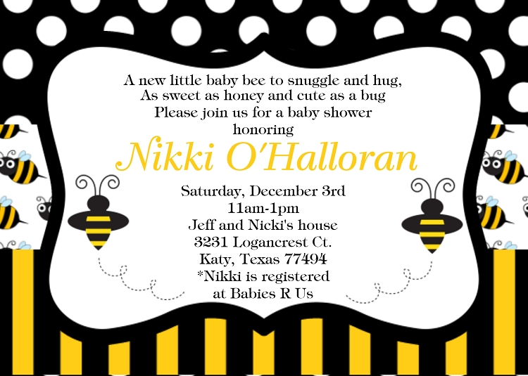 Bumble Bee Baby Shower Invitation 750 x 535