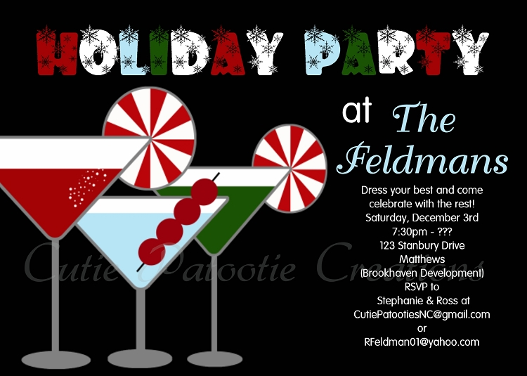 holiday cocktail party invitation for adult christmas party, Party invitations