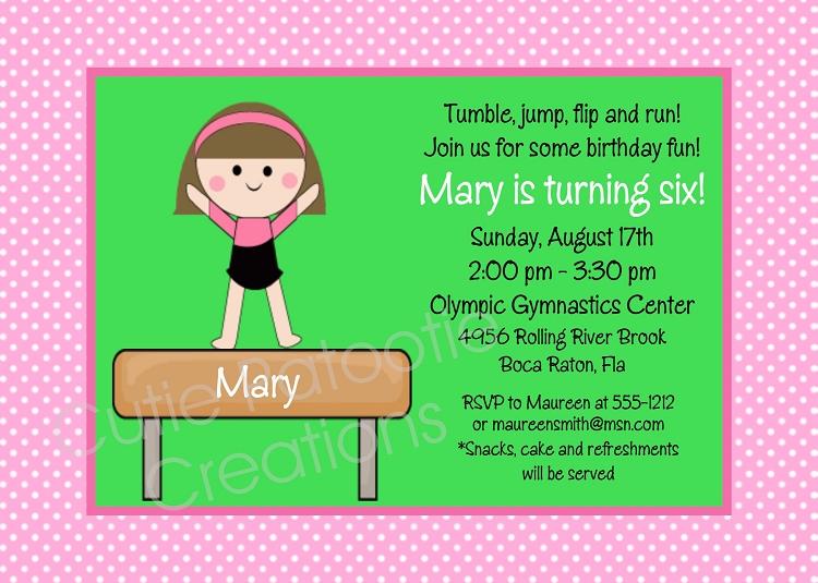 Girls Gymnastics Birthday Party Invitations Printable or Printed – Gymnastics Party Invitation