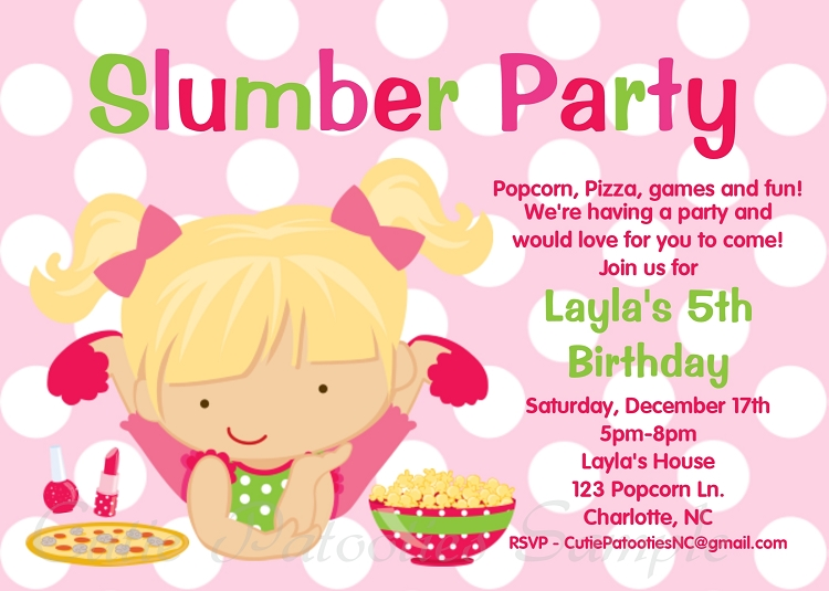 pajama party invitations | slumber party invitations | sleepover, Party invitations