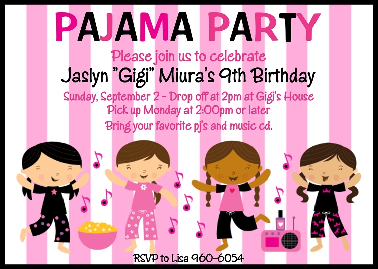 Pajama Party Invitations Slumber Party Invitations – Spa Slumber Party Invitations