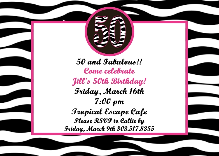 50th Birthday Party Invitations ANY AGE AVAILABLE Printable or – Party Invitations 50th Birthday