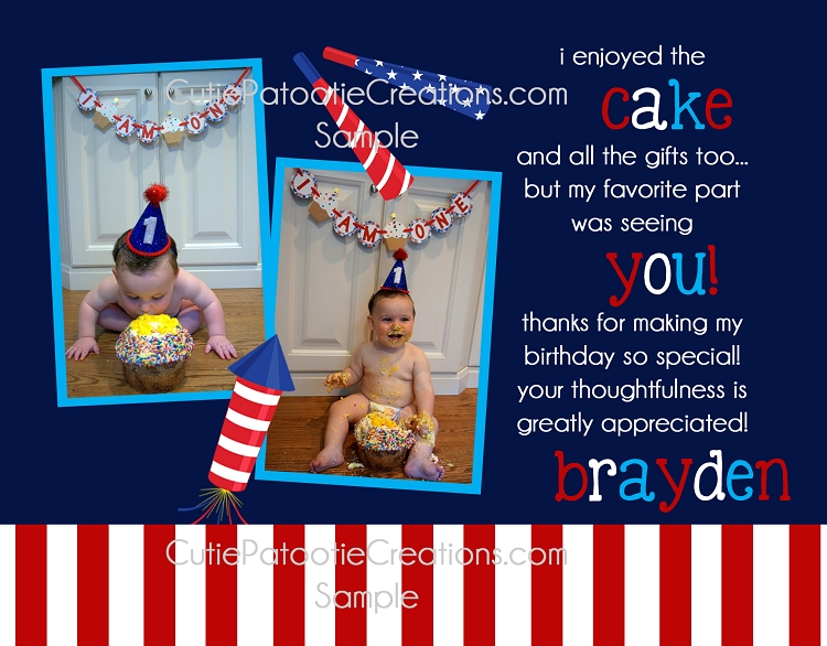 4th Of July Thank You Cards Boy Girl 1st Birthday
