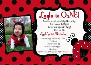 Ladybug themed party invitations red ladybug 1st birthday invitations with photo filmwisefo Gallery