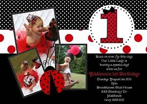 Ladybug themed party invitations 1st birthday ladybug party invite with photo filmwisefo Gallery