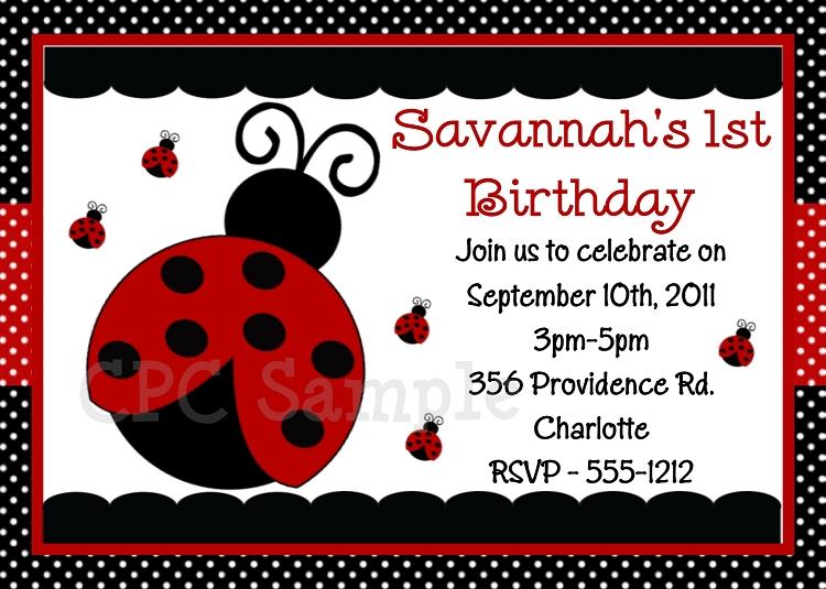 Little Ladybug Birthday Party Invitations