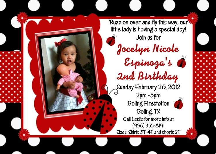 ladybug themed party invitations., Birthday invitations