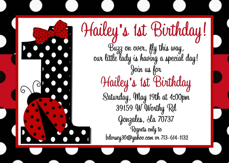 Ladybug 1st birthday invitations filmwisefo Choice Image