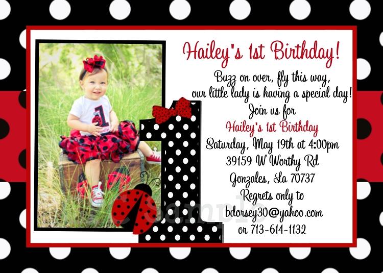 Ladybug Photo Birthday Invitation
