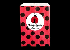 Ladybug Party Favor Paper Bags and Personalized Stickers