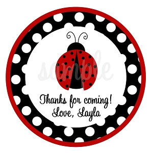 Personalized Red and Black Polka Dot Ladybug Stickers