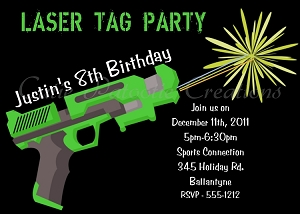 Laser tag themed birthday party invitations airsoft nerf gun laser tag invitations printable or printed stopboris Choice Image