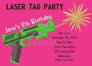Laser Tag themed birthday party invitations