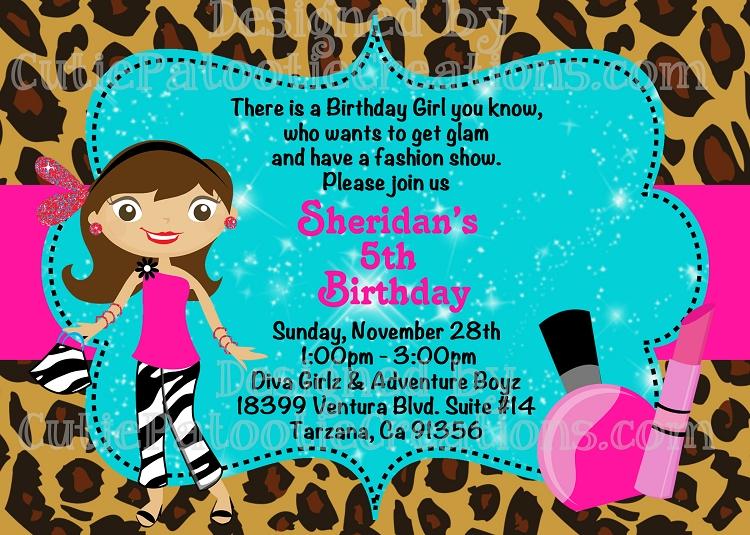 Fashion Runway Birthday Party Invitations Printable or Printed