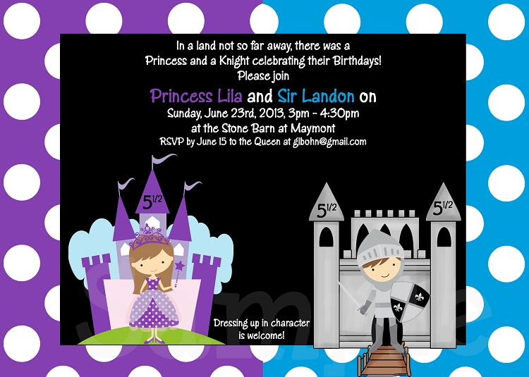 Princess and Knight Party Invitations Printable or Printed – Knight Birthday Invitations