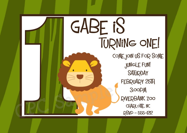 Lion Safari Birthday Invitations Printable or Printed