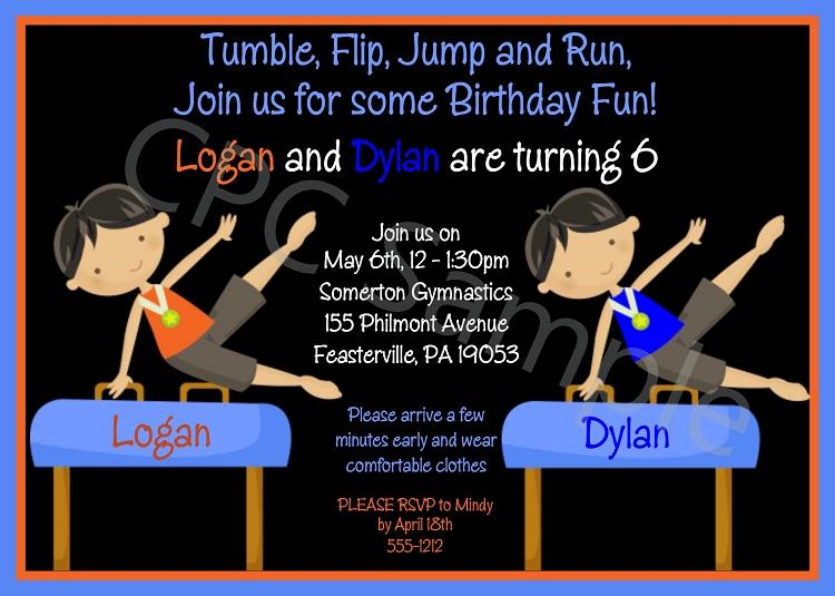 Twin boys gymnastics birthday party invitations printable or printed