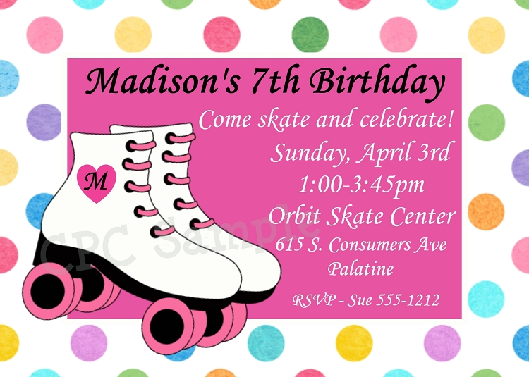 girls colorful polka | roller skating birthday invitations, Birthday invitations