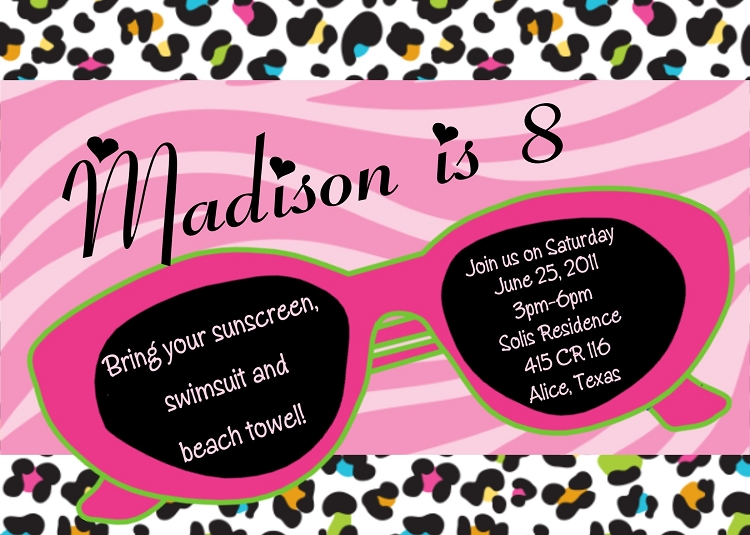 Sunglasses with Leopard Print Background – Printed Party Invitations