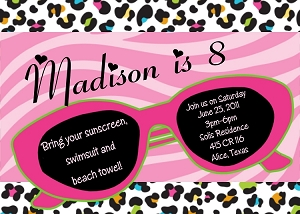 Sunglasses with Leopard Print Background | Pool Party Invitations - Printable or Printed