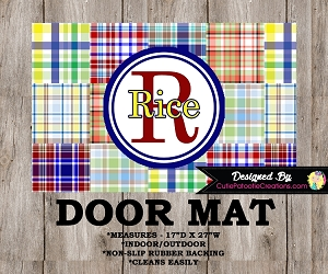 Preppy Madras Plaid Monogrammed Door Mat