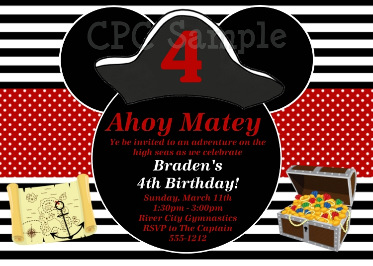 Pirate mickey mouse birthday invitations printable or printed filmwisefo Choice Image