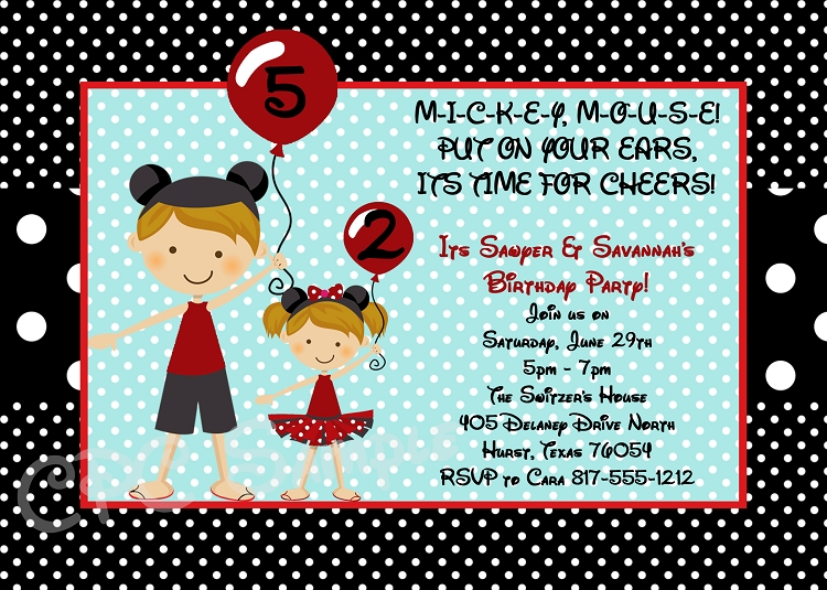 Twin or siblings minnie and mickey mouse birthday invitations twin or siblings minnie and mickey mouse birthday invitations printable or printed stopboris Image collections