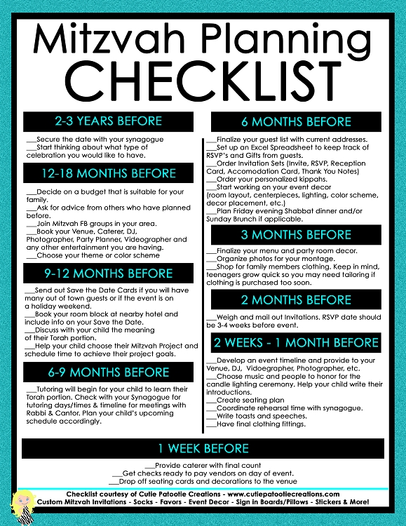 Mitzvah Planning Checklist - FREE Printable Bar Mitzvah, Bat Mitzvah, B'Not Mitzvah, B'Nai Mitzvah