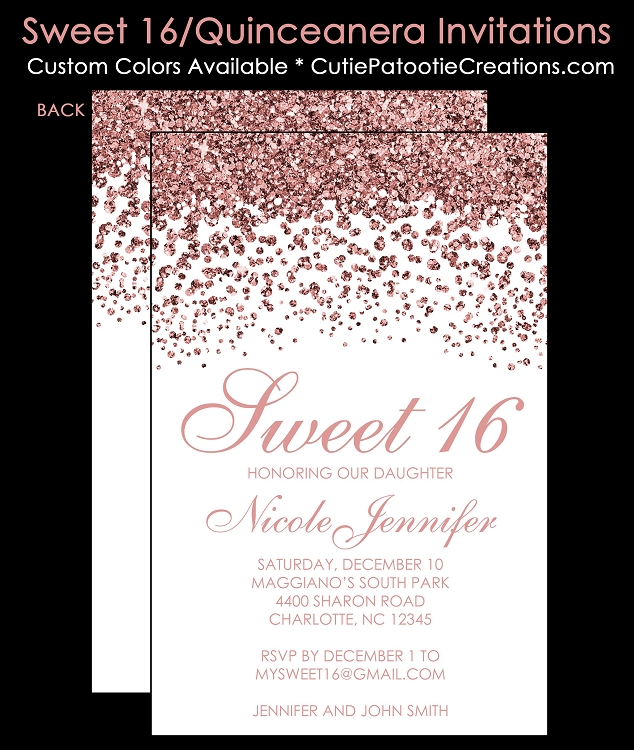 modern rose gold faux glitter sweet 16 birthday