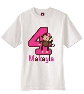 Girl Mod Monkey Birthday Party T-Shirt or Onesie in Pink and Brown