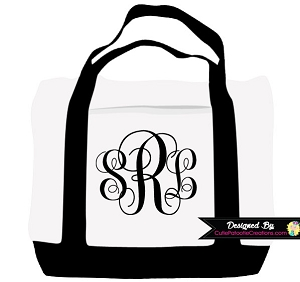 Monogrammed Initials Tote Bag - CHOOSE ANY COLOR