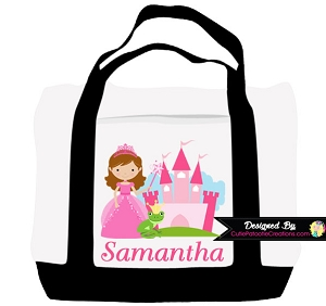 Princess Castle Personalized Tote Bag Monogrammed with Name