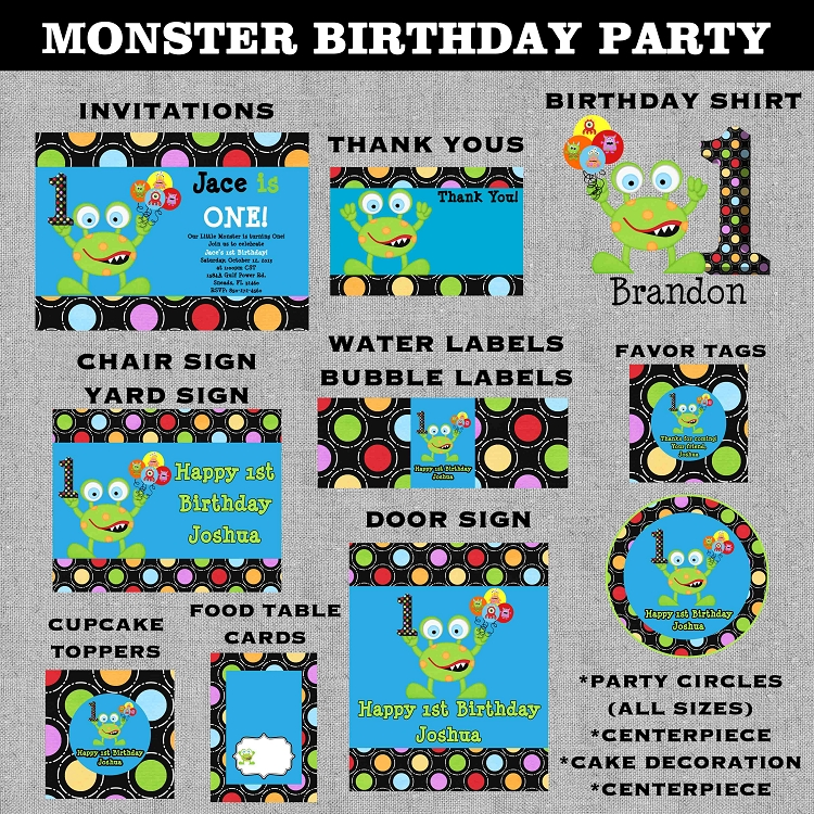 Monster Birthday Invitations | 1st Birthday Invitations - Printable ...