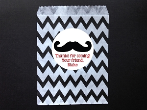 Mustache Chevron Party Favor Bags and Personalized Stickers
