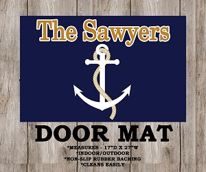 Nautical Anchor Monogrammed Door or Boat Mat