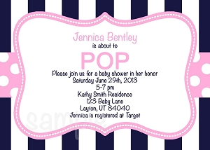 Navy Pink About to POP Baby Shower Invitations