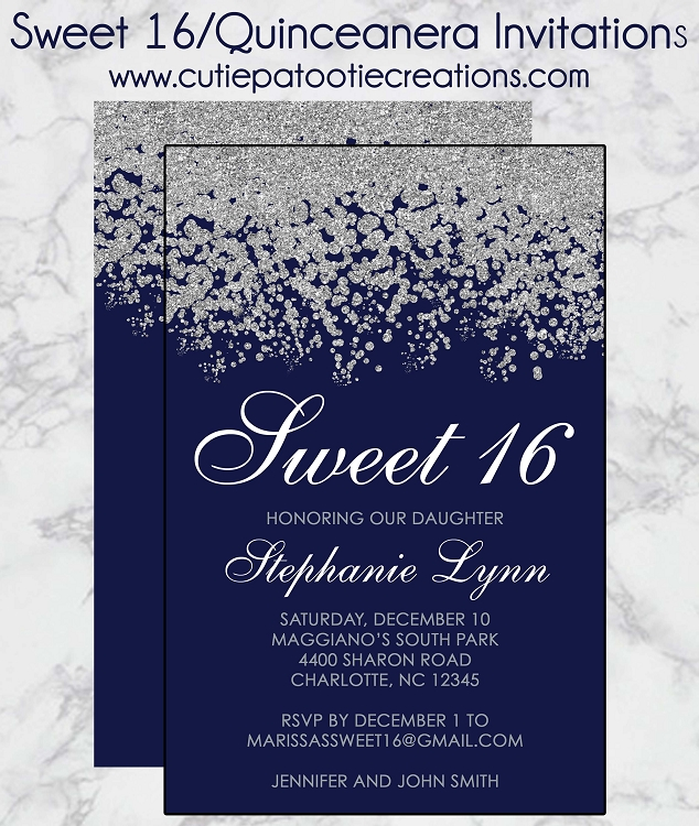 Navy Blue And Silver Sweet 16 Invitations Quinceanera