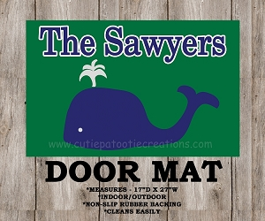 Green and Navy Preppy Whale Monogrammed Door Mat