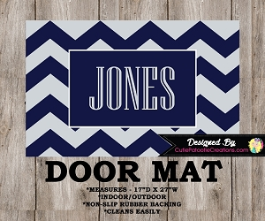 Monogrammed Navy Blue and Grey Chevron Door Mat
